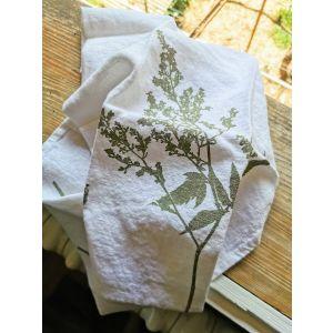 Handtuch weiss 100% Leinen Sommerflieder