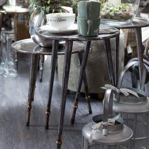 Runder Tisch zwei Höhen silber
