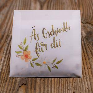«äs Gschänkli für dii» in Pergament Couvert